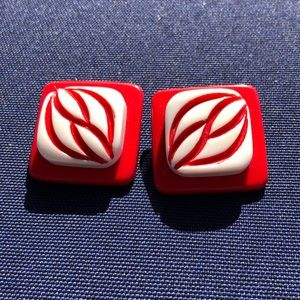 Vintage lucite red and white earrings